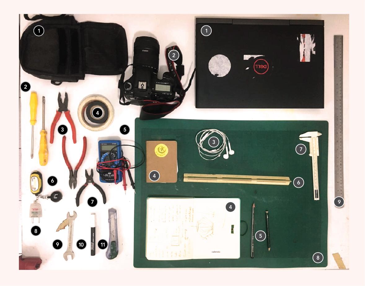 Organização dos equipamentos e materiais utilizados no trabalho